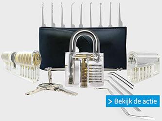 Actie op Lockpick Webwinkel met een pakket samengesteld door de Lockpicking Universiteit.